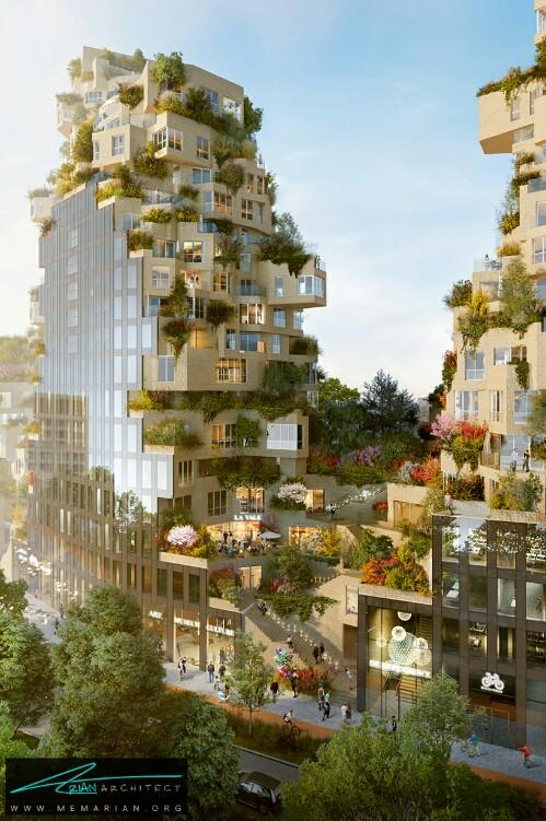 معماری سبز در تراس برج توسط MVRDV در آمستردام، هلند - معماری سبز
