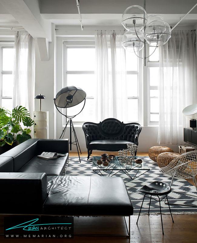 دکوراسیون با مبل چرمی سیاه به سبک ویکتوریا - چگونگی دکوراسیون یک اتاق نشیمن با مبل چرم سیاه