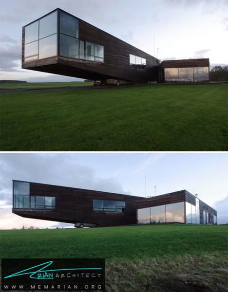 خانه ای با معماری معلق مدرن-معماری معلق