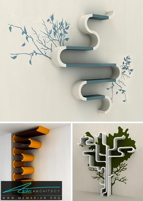 کتابخانه دیواری طرح دار -کتابخانه خلاقانه