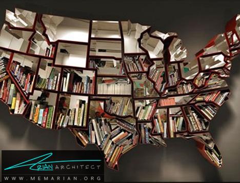 کتابخانه ای به شکل نقشه آمریکا-کتابخانه خلاقانه