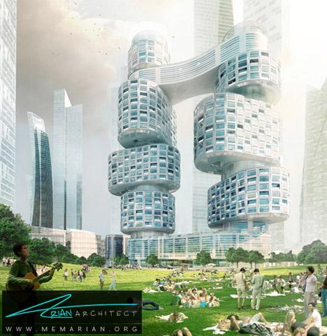برجهای چرخشی متصل به هم- پل های آسمانی