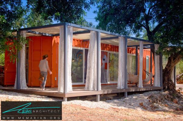 خانه کانتینری نارنجی با محیطی دنج -خانه کانتینری