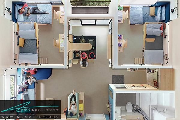 زندگی مشترک در خانه دانشجویی - معماری متراکم