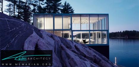 خانه مکعب شیشه ای کنار دریاچه -معماری شیشه ای
