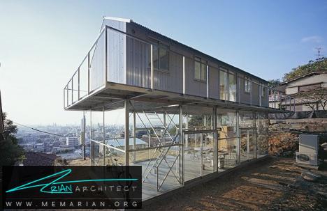 خانه کانتینری روی جعبه شیشه ای -معماری شیشه ای