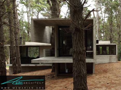 ترکیب کابین بتنی و چوب - معماری خانه با فضای باز