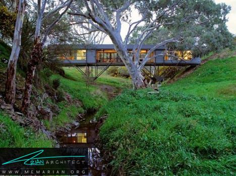 خانه فلزی همانند پل - معماری خانه با فضای باز