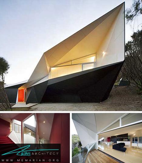 معماری خانه ساحلی عجیب و غریب با اشکال هندسی مختلف - خانه ساحلی عجیب و غریب
