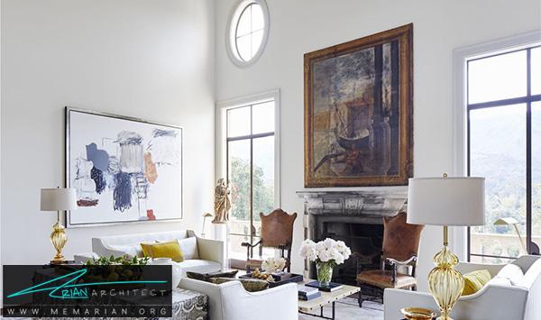 اتاق نشیمن سفید و کلاسیک -چیدمان دکوراسیون منزل