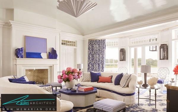 اتاق نشیمن آبی و سفید -چیدمان دکوراسیون داخلی