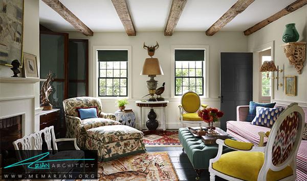 اتاق نشیمن با ترکیب رنگ گوناگون و شلوغ -چیدمان دکوراسیون منزل