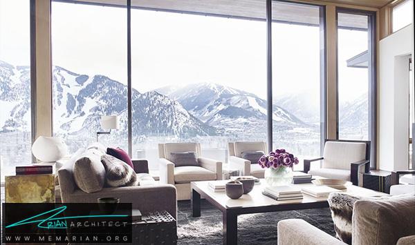 اتاق نشیمن با چشم انداز کوهستان -چیدمان دکوراسیون منزل