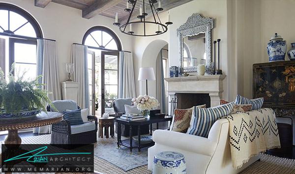 اتاق نشیمن خانه قدیمی در کالیفرنیا -چیدمان دکوراسیون منزل