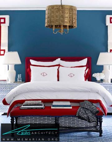 احساس دریایی در تضاد رنگ ها -ترکیب رنگ در اتاق خواب