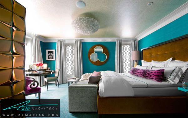 رنگ آبی طاووسی، رنگ سلطنتی -ترکیب رنگ در اتاق خواب