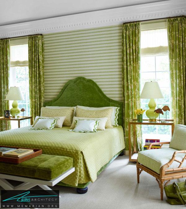 اتاق خواب مدرن و کلاسیک سبز رنگ -راهنمای انتخاب رنگ اتاق خواب