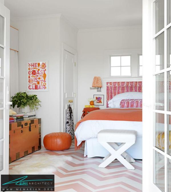یک اتاق خواب صورتی و نارنجی -ترکیب رنگ در اتاق خواب