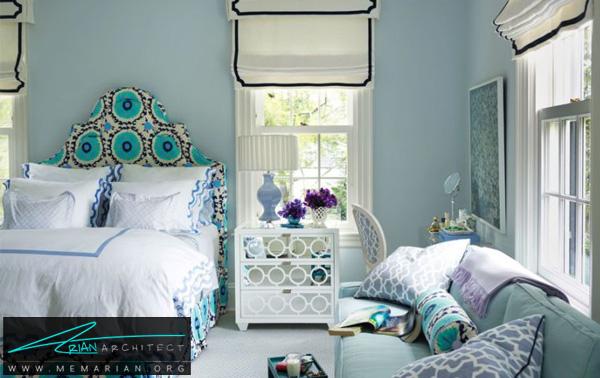 اتاق خواب آبی و بنفش -ترکیب رنگ در اتاق خواب