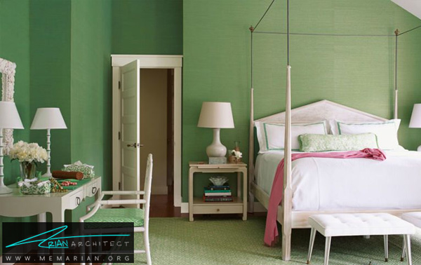 طراوت و تازگی با ترکیب رنگ سبز خالص -ترکیب رنگ در اتاق خواب