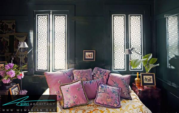 سبز تیره، رنگی رسمی و شیک -ترکیب رنگ در اتاق خواب