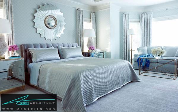 اتاق خواب آبی درخشان -ترکیب رنگ در اتاق خواب
