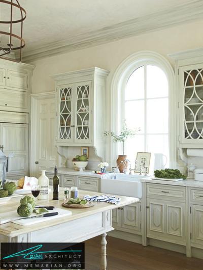 دیوار های سفید و مرمری در آشپزخانه -دکوراسیون داخلی آشپزخانه