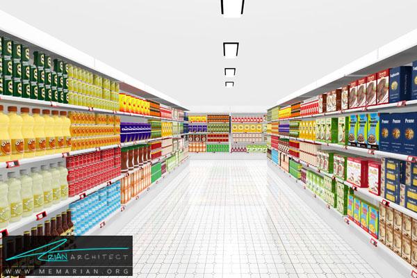 دکوراسیون بخش های مختلف سوپر مارکت - معماری سوپر مارکت