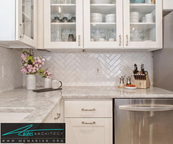 طرحکابینت آشپزخانه هایگلاس رنگسفید -کابینت آشپزخانه