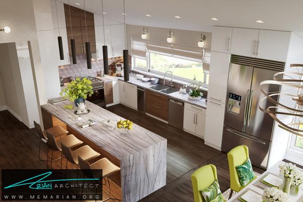 طراحی مدرن برای آشپزخانه با صندلی های سبز