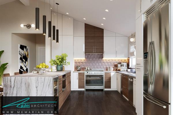 طراحی فضای داخلی آشپزخانه با کفپوش چوبی