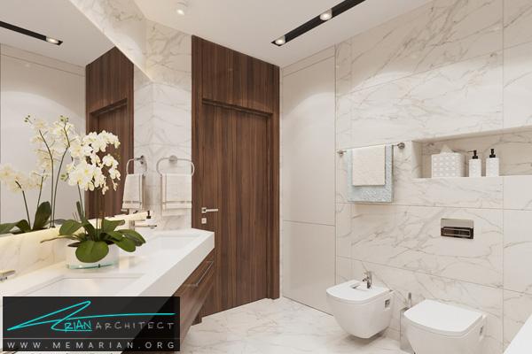 طراحی مدرن و سوپر لوکس برای سرویس بهداشتی با نورپردازی و متریال ترکیبی