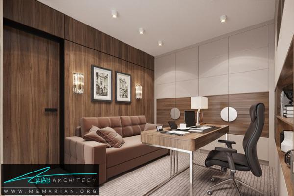 طراحی دکوراسیون لوکس دفتر کار با نورپردازی