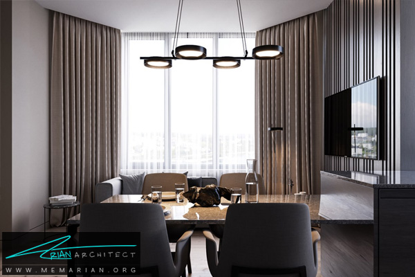 طراحی مدرن و مینیمال برای هال، پذیرایی و آشپزخانه