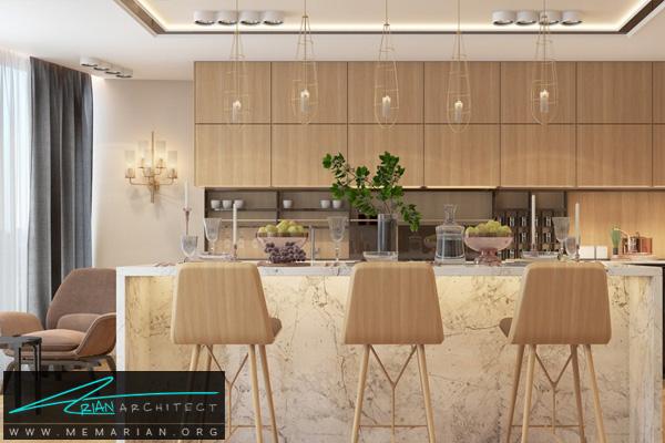 طراحی دکوراسیون آشپزخانه لاکچری به همراه میز جزیره مدرن