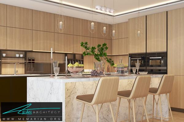 طراحی دکوراسیون آشپزخانه مدرن با میز جزیره