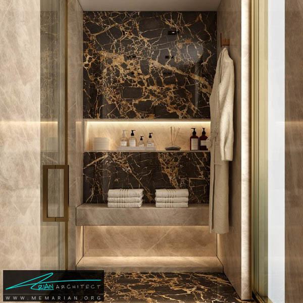 طراحی مدرن و لوکس برای سرویس بهداشتی با ترکیب رنگ کرِم و نورپردازی لایت
