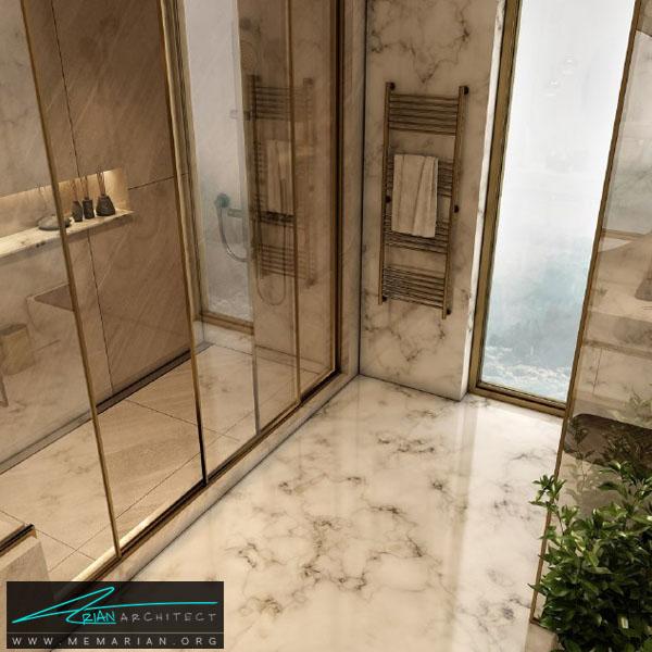 طراحی مدرن و فوق العاده جذاب برای سرویس بهداشتی با ترکیب رنگ سفید و کرِم