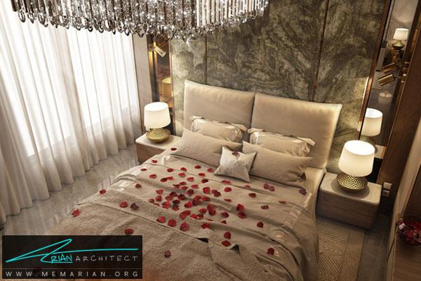طراحی دکوراسیون مدرن و عاشقانه برای اتاق خواب