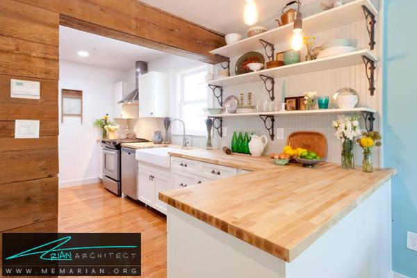 دکوراسیون آشپزخانه با کفپوش و دیواره های چوبی روشن - دکوتراپی آشپزخانه