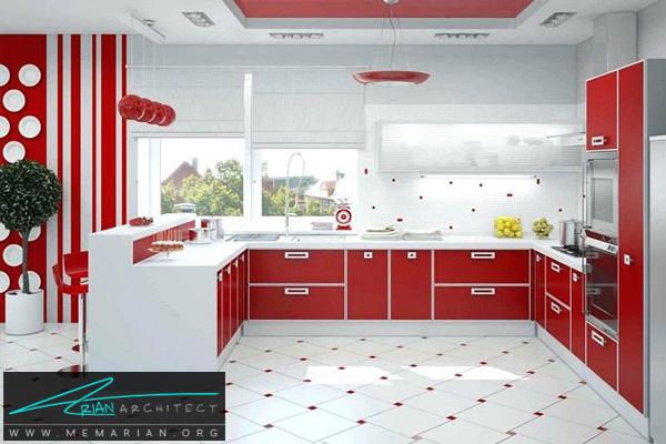 دکوراسیون آشپزخانه با کابینت های قرمز - دکوتراپی آشپزخانه