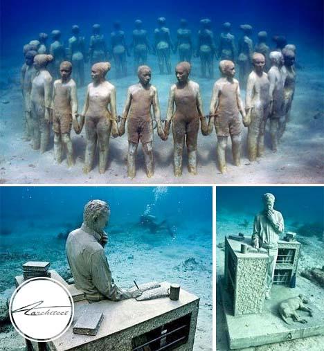 بزرگترین موزه زیر آب جهان در مکزیک - معماری زیر آب