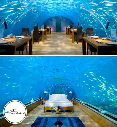 رستوران زیر آبی Ithaa در کشور مالدیو - معماری زیر آب