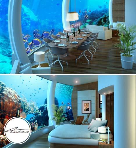 رستوران هتل مجلل در فیجی - معماری زیر آب