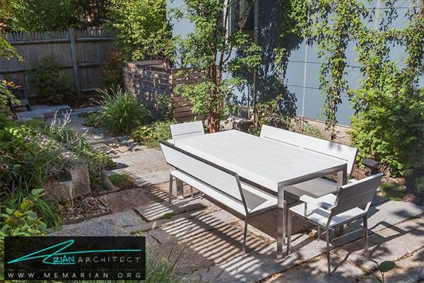 میز و صندلی ساده گرانیتی در دکوراسیون پاسیو -دکوراسیون پاسیو