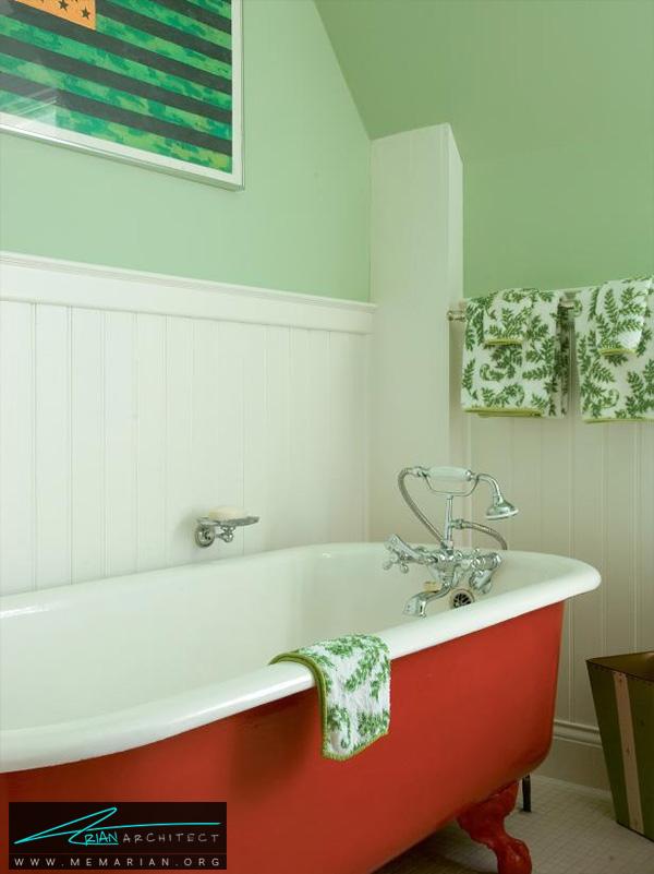 دکوراسیون حمام یک پارچه سبز رنگ -دکوراسیون حمام 2018
