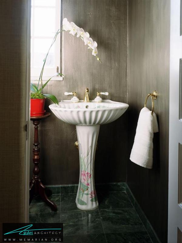 اتاق شست و شو با دیواره های چوبی -دکوراسیون حمام 2018