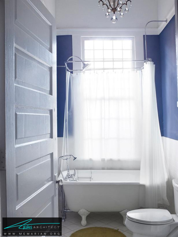 طراحی داخلی حمام ظریف با پرده جداکننده -دکوراسیون حمام 2018