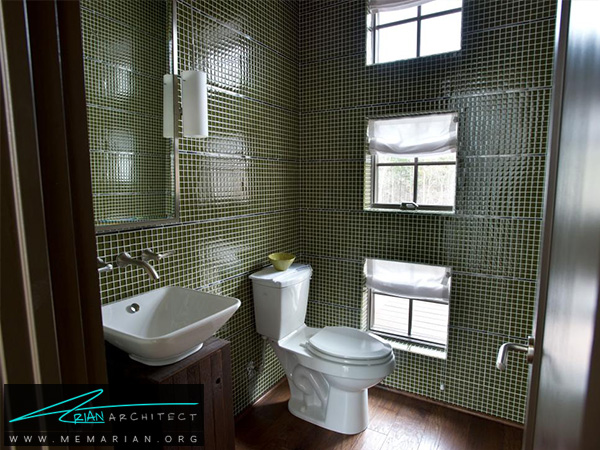 حمام مدرن با کاشی موزائیک های چهار خانه سبز لجنی -دکوراسیون حمام 2018
