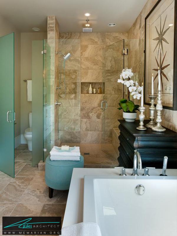 حمام مدرن و شیک با اتاق دوش مجزا -دکوراسیون حمام 2018